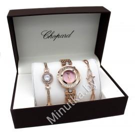 Женские наручные часы Chopard и два металлических браслета CWC479