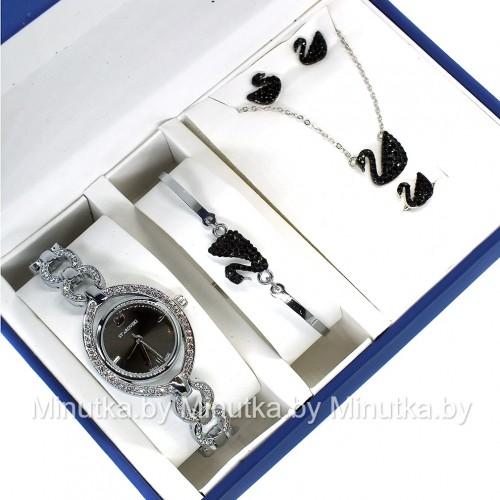 Комплект! Женские наручные часы Swarovski, браслет, подвеска, серьги CWC034