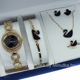 Комплект! Женские наручные часы Swarovski, браслет, подвеска, серьги CWC356