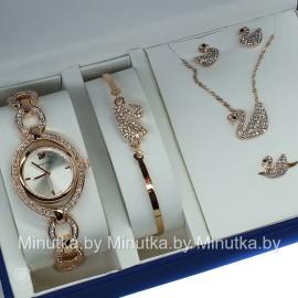 Комплект! Женские наручные часы Swarovski, браслет, подвеска, серьги CWC426