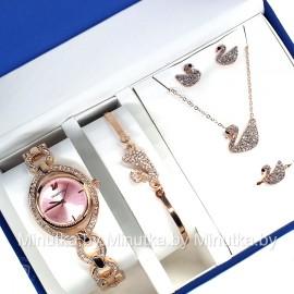 Комплект! Женские наручные часы Swarovski, браслет, подвеска, серьги CWC767