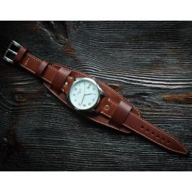 Кожаный ремешок ручной работы с напульсником для часов 22 мм Remen M020-22