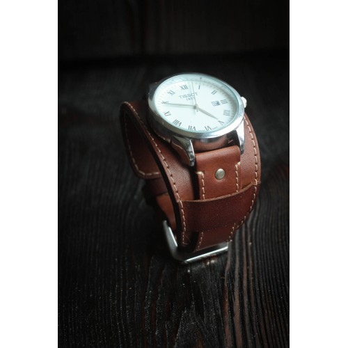 Кожаный ремешок ручной работы с напульсником для часов 18 мм Remen M020-18